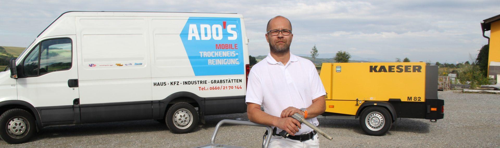 """Willkommen bei """"Ado's mobile Trockeneis & Sandstrahltechnik"""""""